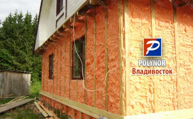Утепление фасада загородного домика - Полинор (Polynor)